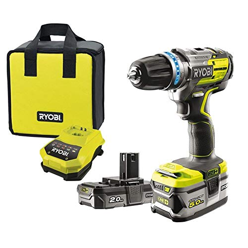Ryobi 5133003614 R18PDBL-252S Perceuse-visseuse à percussion sans fil (18 V, fonction percussion, 2 batteries 5,0 + 2,0 Ah, mandrin à serrage rapide 13 mm)