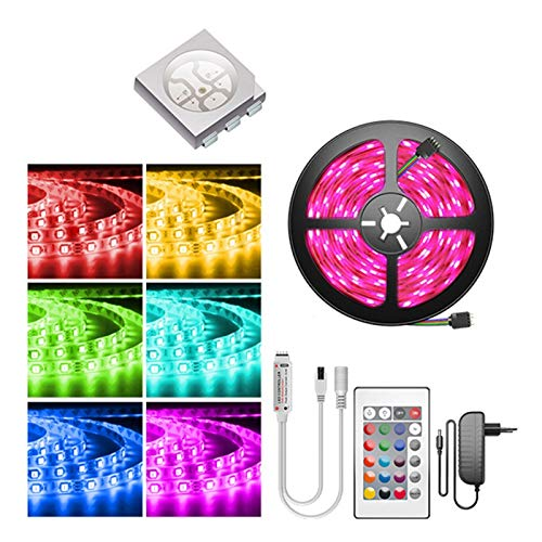 CUzzhtzy Barra de luz LED, RGB Smart Patch Light Light, Ribbon Flexible RGB DIODE DC 12V, 4 Modos for Hogar, Dormitorio, TV, Decoración del Gabinete, Fiesta