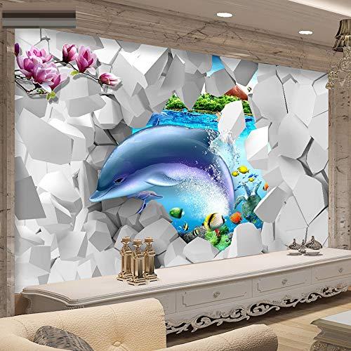 Coole Dancing Dolphin in Flower 3D Wallpaper für Foto Wallpaper für Wohnzimmer Wandbild Rolls Kids Schlafzimmer, 250x175cm