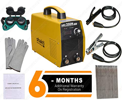 BMB Shakti Technology Inverter Welding Machine ARC-200N with All Accessories Cable Set, Welding Goggles, Welding Gloves, Welding Rods (Yellow)