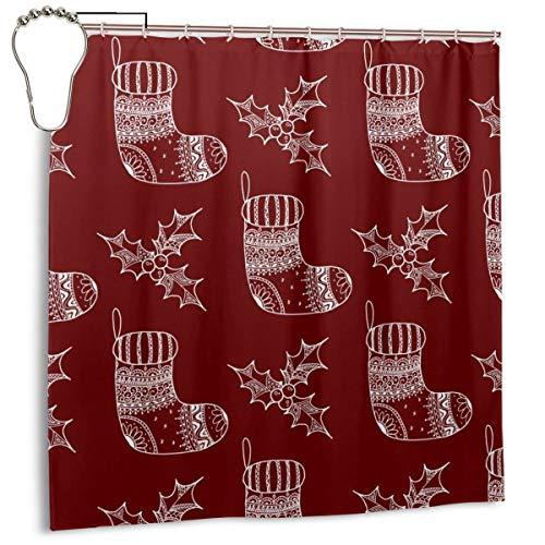 xiaolang Nahtloses Muster des dekorativen Weihnachtssymbols - Socke und Stechpalme, Hauptdekorations-Duschvorhang 72inX72in