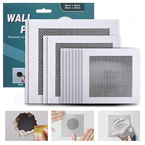 WDSHCR Drywall Repair Kit 12 Pieces Aluminum Wall Repair Patch Kit, 4/6/8 inch Fiber Mesh Over Galvanized Plate, Dry Wall Hole Repair Patch Metal Patch with Extended Self-Adhesive Mesh