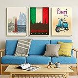 Bdwdhj Poster Set,Italien Bari Reisekarte Leinwandbilder