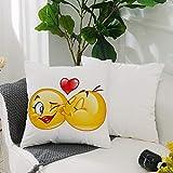 Fundas Cojines de Poliéster -50x50cm,Emoji, coqueto romántico...