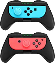 Customized Comfort Grips Compatible with Nintendo Switch Joy-Con Controller (2-Pack), 2pcs Thumbstick Caps Included