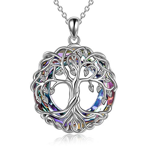 POPLYKE Tree of Life Necklace Jewelry for Women Sterling Silver Celtic Knot Family Tree Pendant with PurpleCircle Crystal Irish Jewelry Gifts for Mom Daughter Birthday Christmas (Purple)
