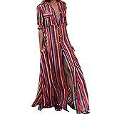 Gibobby Turndown Collar Short Sleeve Maxi Dress for Women V Neck Vertical Stripes Full Button Pockets Long Maxi Dresses