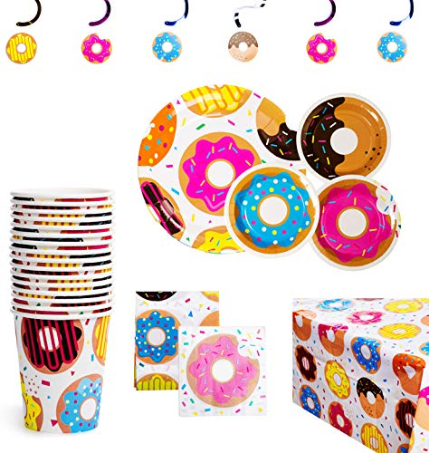 BleuZoo Donut Party Supplies - Party Themed Set Birthday Decorations Bundle - Donut Grow Up - Includes: Big and Small Plates, Tablecloth, Danglers, Cups, Napkins (Serves 16)