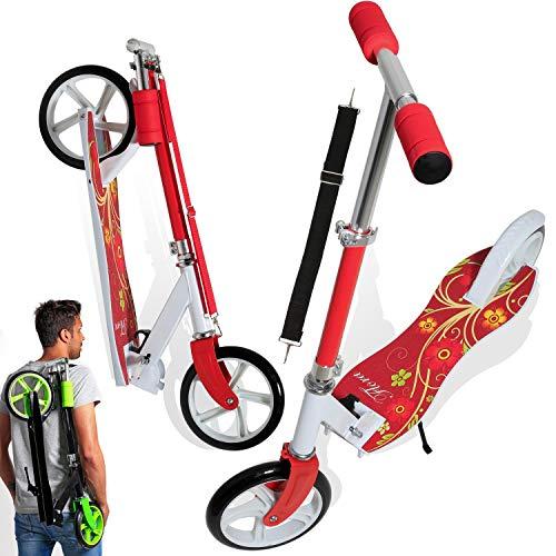 KESSER® Scooter Roller Kinderroller Cityroller Tretroller Kickroller Kickscooter, Design / Flora (Red)