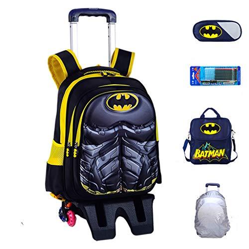 YeMao Zaino con Ruote per Bambini Super Hero, Borse da Scuola per Studenti elementari 6 Ruote per Ragazzi Carrello da Viaggio con Ruote,Batman-42 * 32 * 22CM