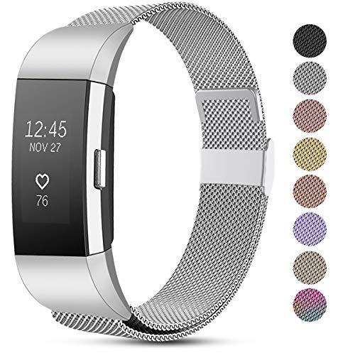 Funbiz Armband Kompatible mit Fitbit Charge 2 Armband, Einstellbare Metall Mesh Edelstahl Ersatzband Kompatible mit Fitbit Charge 2, Klein Argent
