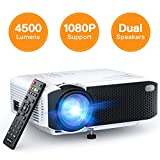 APEMAN 3800L Brightness Projector, Support 1080P 180 Pouces, Portable Movie Projector, 45 000 Hrs LED Life and Compatible avec TV Stick, PS4, HDMI, TF, AV, USB pour Home Entertainment