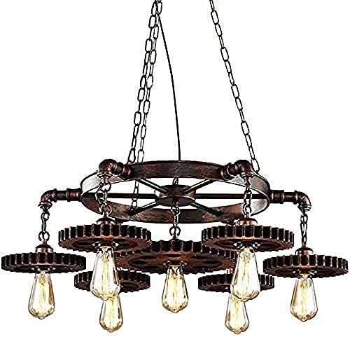 Araña Colgante Retro Antiguo Engranajes industriales de 7 dormitorios Restaurante Metal Colgando lámpara de Techo iluminación diseño Decorativo Altura Ajustable Excellent