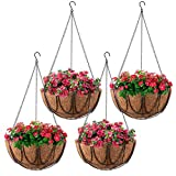 MICGEEK 4 Pack Metal Hanging Planter Basket with Coco Liner, 12 inches Metal Hanging Basket for Flower, Coco Liners for Plants, Hanging Basket for Plants, Garden, Outdoor, Indoor -HB02 (12 in)