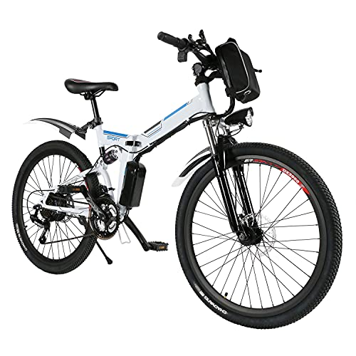 Speedrid Electric Bike 26'' Electric Folding Bikes for Adults e-bike Electric Mountain Bike with Double Shock Absorption, Font and Rear Disc Brakes, and Professional 21-speed