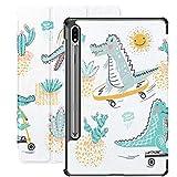 Funda para Galaxy Tab S7 Funda Delgada y Liviana con Soporte para Tableta Galaxy Tab S7 de 11 Pulgadas Sm-t870 Sm-t875 Sm-t878 2020 Release, Cute Crocodile Set Alligators Cactuses