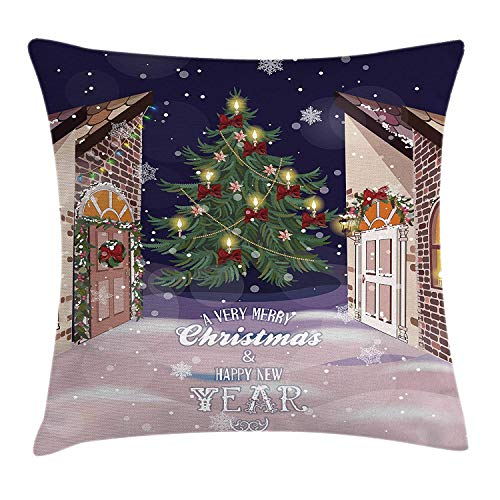 Christmas Throw Pillow Cushion Cover, Winter Setting Streets Filled with Snow Traditional Pine Tree Ribbons Carol Quote, Decorative Square Accent Pillow Case, 18 X 18 inches, Multicolor