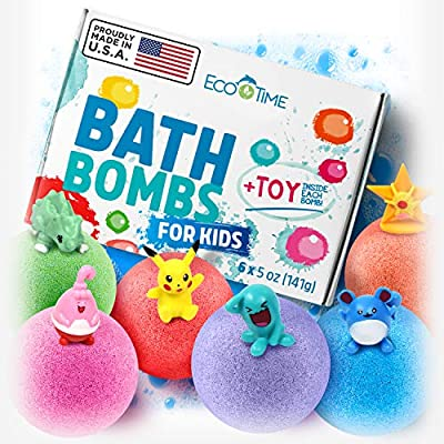 Handmade Bath Bombs for Kids with SURPRISE TOYS Inside -100% Natural and Organic Ingredients - Perfect 3 Year Old Girl Toys or Even 5 Year Old Boy Gifts - Six Large Bath Bombs In Six Different Colors.