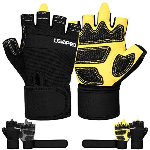 Cevapro Fitness Handschuhe Trainingshandschuhe mit Handgelenkstütze für Krafttraining Gewichtheben Crossfit Bodybuilding Radsport Gym Damen Herren (Gelb, Large)