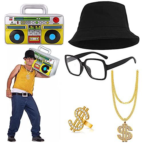 BIQIQI Kit de Costume de Hip Hop Homme Années 90 Années 80 Accessoires de Rappeur Chapeau de Seau Or Signe de Dollar Collier Chaîne Anneau Collier Boom Box gonflable Thème Fête Adulte Années 80