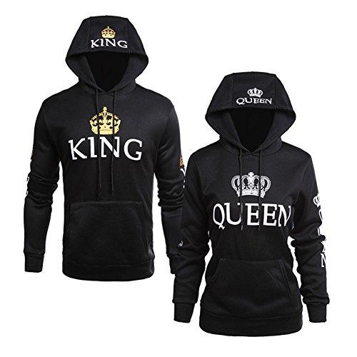 Minetom Lovers Uomo e Donna Felpa Con Cappuccio King Queen Corona Stampa Manica Lunga Cappotto Giacca Sweatshirt Hoodies Pullover Corona Nero EU M(Uomo)
