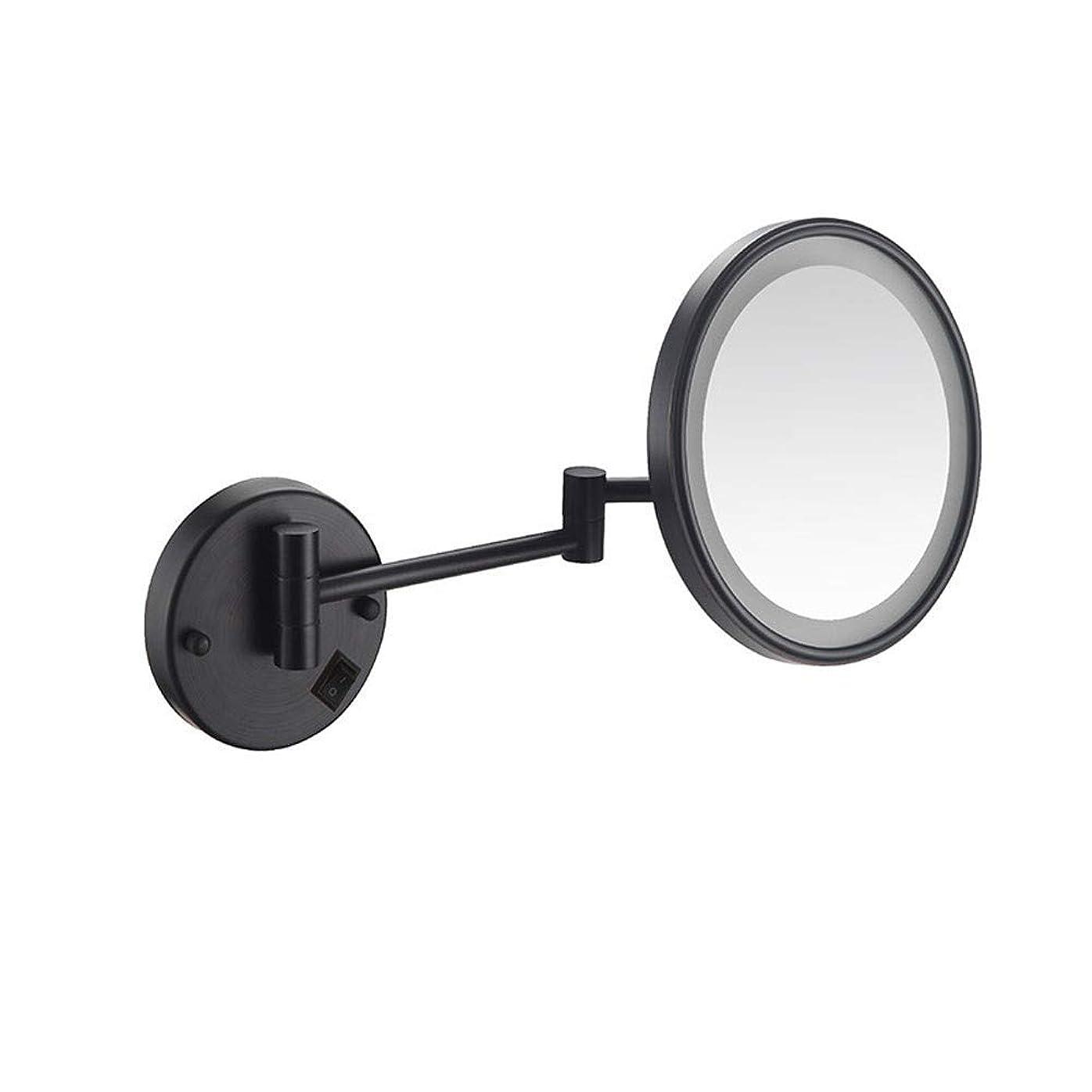 宇宙飛行士鰐資本主義化粧鏡拡大鏡LED照明付き化粧鏡3倍拡大USB充電式格納式クローム仕上げシェービングミラーブラック