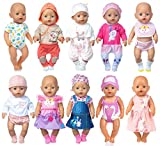 Neu 10 Set Puppenkleider Zubehör für 43cm / 17 Zoll Neugeborene Babypuppen Dazu gehört EIN Jeanskleid Bikini Outfit (Keine Puppe)