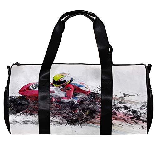 Bolsa de deporte redonda con correa de hombro desmontable para motocicleta, casco de velocidad de entrenamiento, bolsa de noche para mujeres y hombres