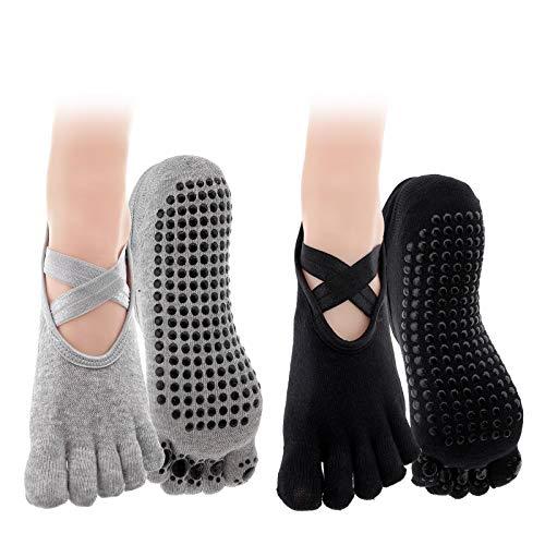 YINETTECH 2 Paar Anti-Rutsch Yoga 5 Zehen Socken Set Damen Vollzehen Workout Grau + Schwarz