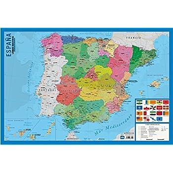Postal Mapa Político de España Azul 16x11 cm.: Amazon.es