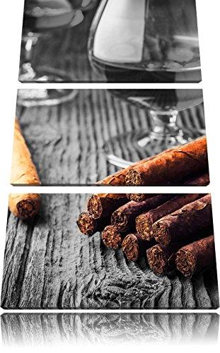 Whisky en Cubaanse sigarenFoto Canvas 3 deel | Maat: 120x80 cm | Wanddecoraties | Kunstdruk | Volledig gemonteerd