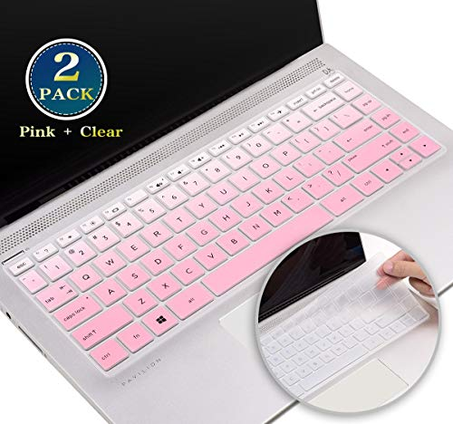 Silicone Keyboard Cover Protector for HP Pavilion x360 14 Inch, 2020 2019 2018 HP 14 Inch Laptop Keyboard Skin, HP 14 Inch Series Protective Keyboard Accessories(Pink+Clear)