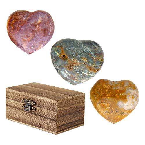 Kino 3PCS OJ Ocean Jasper Hearts with Wood Chest Polished Palm Stone Worry Pocket Stone Crystal Healing Reiki Energy Gemstones