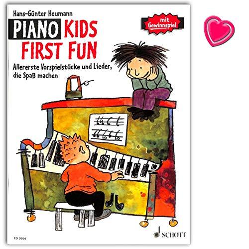 Piano Kids, First Fun – Libro de seguimiento de banda 1 y 2 de la escuela de piano – Primeros juegos y canciones que hacen divertir. Libro de partituras con pinza en forma de corazón