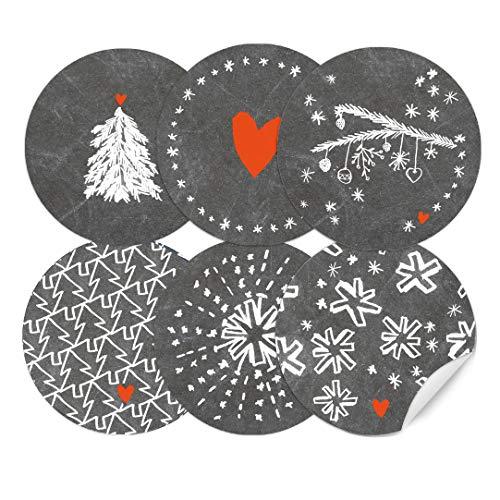 24 Weihnachtsdeko Aufkleber Grau Weiß im Handlettering Stil, runde Sticker für Weihnachtsgeschenke, MATTE Papieraufkleber für selbst gebastelte Adventskalender und Geschenkpapier an Weihnachten