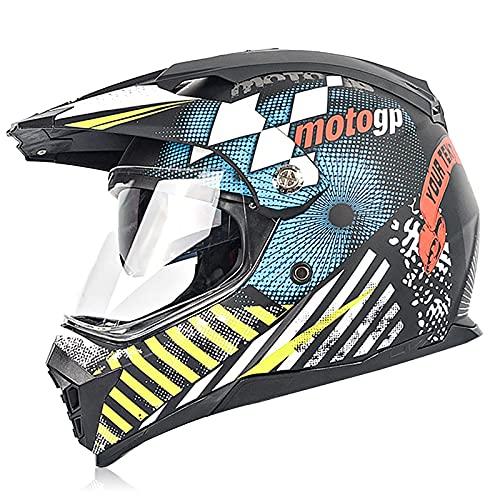 Casco de motocross, casco integral con gafas, guantes, máscara, casco protector, unisex, utilizado para casco de moto, casco de bicicleta de montaña. 7,L