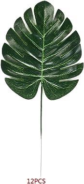 Masterein 12pcs Tropical Artificielle Feuilles Vertes en Plastique Soie Fausse Feuille de Plantes d'intérieur d'extér