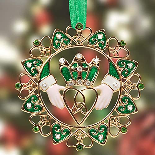 Irish Christmas Ornament - Gold Claddagh Designs with Jewels and Enamel - Gift Boxed with Irish Saying Poem