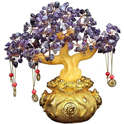 ZHANG Piedra Preciosa árbol Bonsái árbol De Cristal Feng Shui Dinero De Cobre Resina árbol De Dinero Bonsai Estilo Oficina Decoración De La Mesa del Hogar,20cm