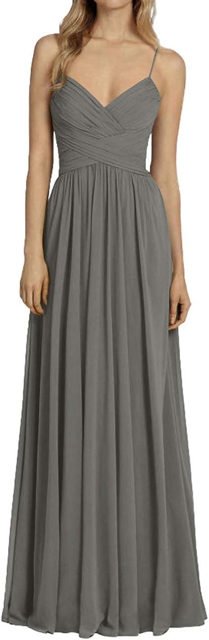 H.S.D Bridesmaid Dresses Long V Max 89% OFF Prom Pleated Evenin Chiffon Award-winning store Neck