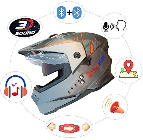 Green Stone Moto G6 Best Smart Dual Bluetooth Helmet with Brake/Indicator Light...