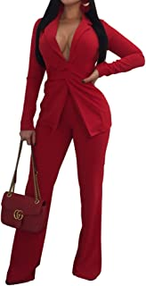 Women Sexy Two Piece Blazer Outfits Long Sleeve Slim Fit Jacket with Long Pants Suit Set