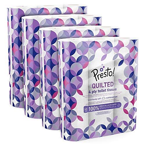 Amazon-Marke: Presto! 4-lagiges Toilettenpapier, 48 Rollen (12 x 4 x 160 Blätter)