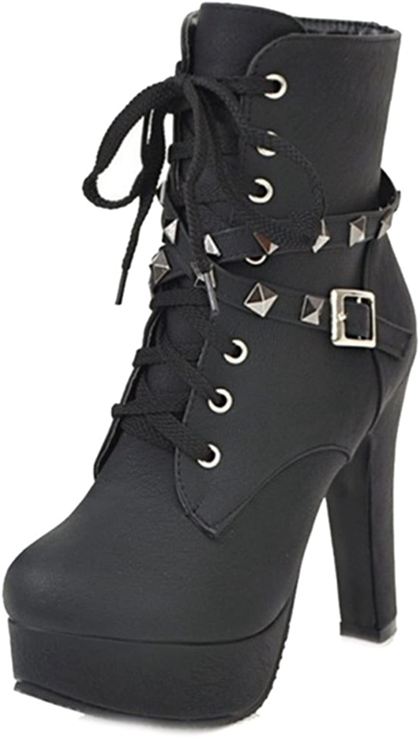 Cocey Martin Boots with Lace Up and Rivets for Fashion Women Ankle Boots with Large