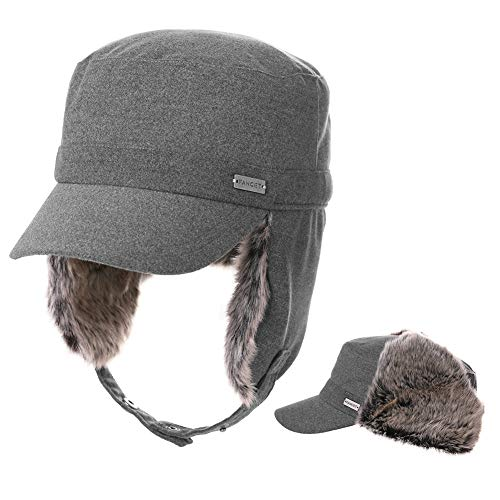 Jeff & Aimy Womens Winter Baseball Army Cap Trapper Warm Lined Military Hunting Hat Men Faux Fur Ear Flaps Muffs Ski Cold Weather Elmer Fudd Grey 56-58CM