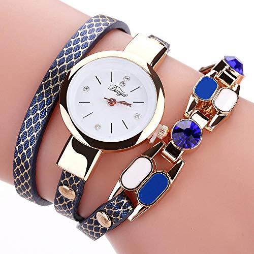 Powzz - Reloj de pulsera para mujer, estilo vintage, sexy, piel sintética, estilo vintage, color azul