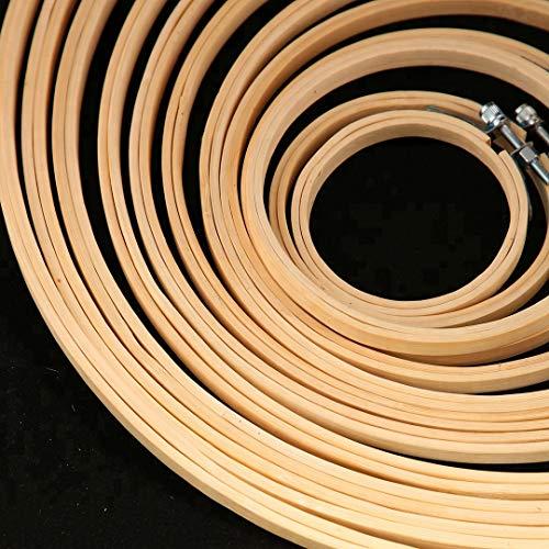 Lote de Bastidores Bambu de Punto de Cruz redondos y Lisos - Arte e Manualidades 10 Piezas de diferentes tamaños - Aros de Bordar y Costura a Mano - Kit de Aros circulares de madera de Bamboo Bambú ✅