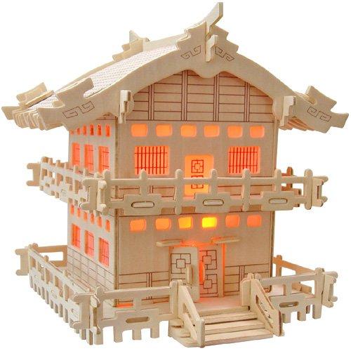 Japanisches Haus 3D Holzbausatz Gebäude Haus Steckpuzzle Bauwerk Holzpuzzle MW110-N