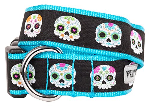 The Worthy Dog Skeleton Sugar Skulls and Flowers Day of The Dead Colorful Adjustable Lead, Designer Comfortable Nylon Webbing Leash Fits Small, Medium and Large Dogs, Black Color