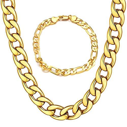 Collar Pulsera de Hombre de Cadena Cubana de Acero Inoxidable 21cm 51cm de Longitud Dorado, Cadena Collar Oro 24K 18K para Hombre